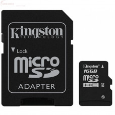 Карта памяти Kingston microSDHC 16GB Class 4 + SD адаптер